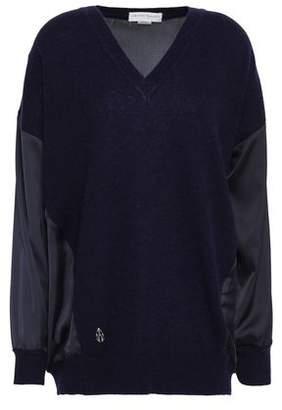 Amanda Wakeley Satin-Paneled Cashmere And Wool-Bend Sweater