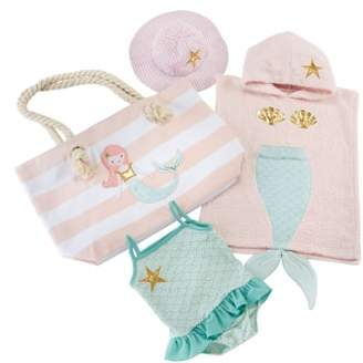 Baby Aspen Mermaid Hooded Towel, Swimsuit, Sun Hat & Tote Set