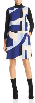 Marella Werner Rib-Detail Geo-Print Shift Dress