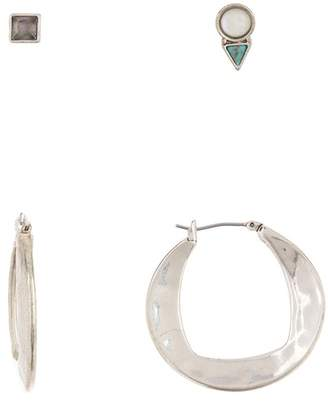 Lucky Brand Geo Hoop & Stud Earrings Set - Set of 3