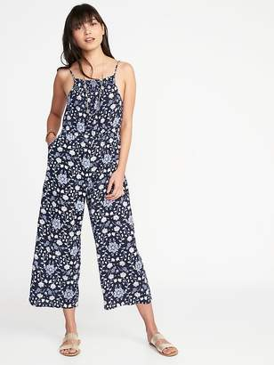 Old Navy Waist-Defined Sleeveless Linen-Blend Jumpsuit for Women