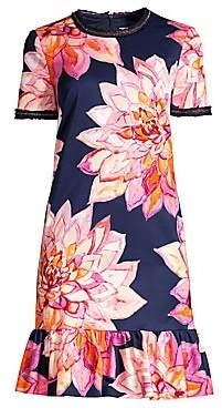 Trina Turk Women's Coast Embellished Faille Print Drop Waist Dress - Size 0