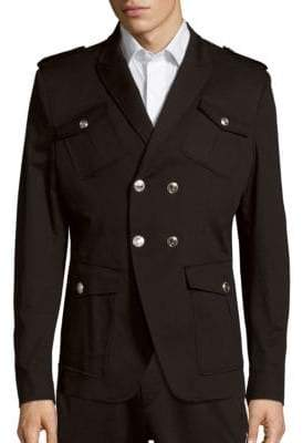 Pierre Balmain Solid Multi-Pocket Cotton Overcoat