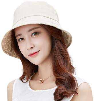 Siggi Womens UPF50+ Linen/Cotton Summer Sunhat Bucket Packable Foldable Wide Brim Hats w/ Chin Cord Beige