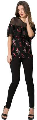 Le Château Women's Embroidered Flounce Top,XL