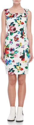 Love Moschino Printed Ruffled Sheath Dress