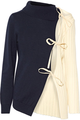 Jacquemus - Tie-side Two-tone Wool Sweater - Navy $555 thestylecure.com