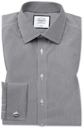 Charles Tyrwhitt Classic Fit Non-Iron Black Bengal Stripe Cotton Dress Shirt French Cuff Size 15/33