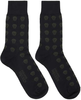 Alexander McQueen Navy Skull Socks $70 thestylecure.com