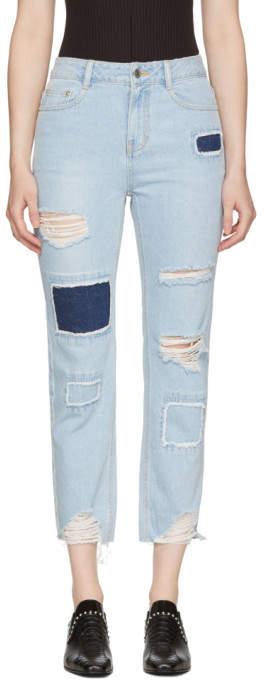 Blue Patched Cut-off Jeans