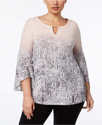 Calvin Klein Plus Size Toggle-Chain Ombre-Print Tunic