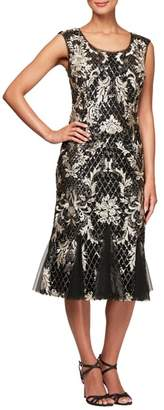 Alex Evenings Scoop Neck Embroidered Dress