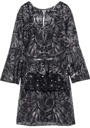 Marchesa Ruffled Embellished Tulle Mini Dress