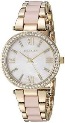 Anne Klein Women's AK/3350BHGB Swarovski Crystal Accented Gold-Tone and Blush Pink Resin Bracelet Watch