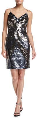 Aidan Mattox V-Neck Sleeveless Sequin Short Cocktail Dress