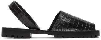 Goya - Crocodile Effect Leather Slingback Sandals - Womens - Black