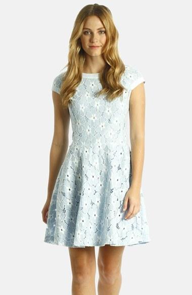 LABEL by five twelve Bonded Lace Fit & Flare Dress
