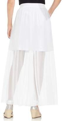 Vince Camuto Side Tie Mesh Overlay Maxi Skirt