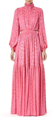 Carolina Herrera Cutout-Jersey Turtleneck Gown