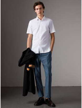 Burberry Slim Fit Short-sleeved Stretch Cotton Shirt