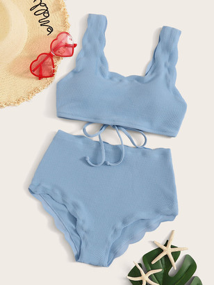 Shein Scallop Trim Textured High Waist Bikini Set