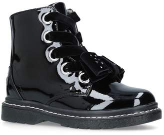 Lelli Kelly Kids Patent Leather Bow Detail Ankle Boots