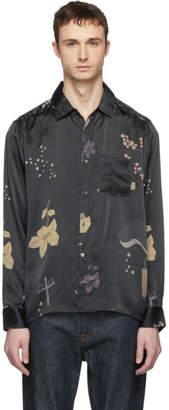 Lhomme Rouge LHomme Rouge Black Silk Night Island Shirt
