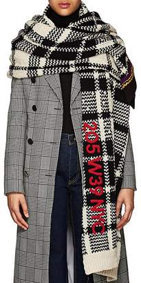 Calvin Klein Women's Plaid Chunky-Knit Wool Blanket-Scarf