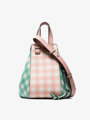 Loewe pink and green Hammock small gingham leather shoulder bag