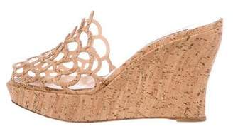 Oscar de la Renta Scalloped Wedge Sandals