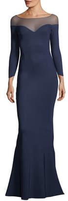 Chiara Boni Zefira Long-Sleeve Illusion Gown