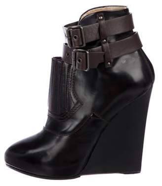 Proenza Schouler Leather Wedge Ankle Boots Black Leather Wedge Ankle Boots