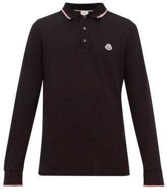 Moncler Logo Applique Cotton Pique Long Sleeve Polo Shirt - Mens - Black