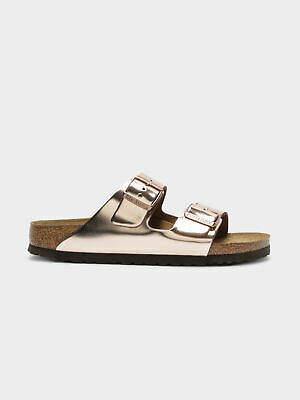 Birkenstock New Womens Arizona Bs Narrow Fit Sandals In Metallic Copper Womens