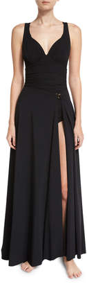 Chiara Boni Rodeia Jersey Wrap Coverup Maxi Skirt, Black