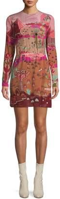 Valentino Printed Silk Long-Sleeve Dress