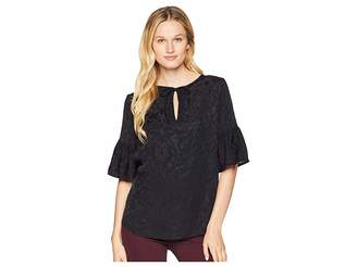 Lucky Brand Luxe Jacquard Peasant Top