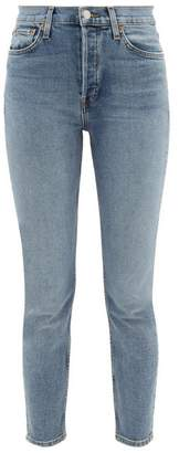 RE/DONE Comfort Stretch Ankle Crop High Rise Jeans - Womens - Light Blue