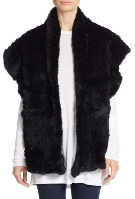 Saks Fifth Avenue Rabbit Fur Shawl Vest