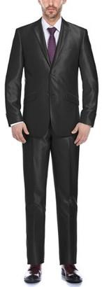 Verno Men's Black Shark-skin Slim Fit Two-piece Suit