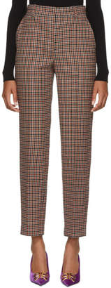 Balenciaga Brown Check Carrot Trousers