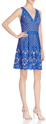 Adrianna Papell Mixed Lace Fit-and-Flare Dress $160 thestylecure.com