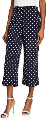 Donna Degnan Polka Dot Wide-Leg Cropped Pants