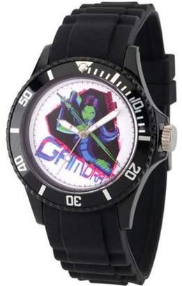 Marvel Guardians of the Galaxy Gamora Unisex Black Plastic Watch, Black Bezel, Black Plastic Strap
