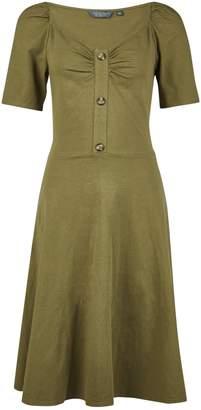 Dorothy Perkins Womens **Tall Khaki Horn Effect Button Dress