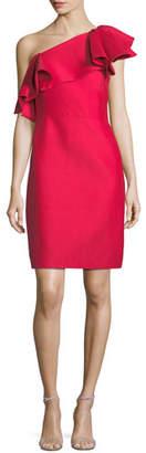 Halston One-Shoulder Flounce Dress