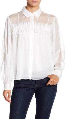 Endless Rose Chiffon Button Down Long Sleeve Blouse