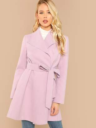 Shein Waterfall Collar Self Belted Coat