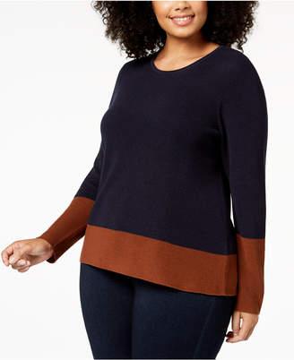 Eileen Fisher Plus Size Tencel Colorblocked Sweater