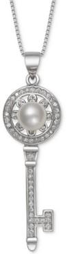 "Belle de Mer Cultured Freshwater Pearl (7mm) & Cubic Zirconia Key 18"" Pendant Necklace in Sterling Silver"